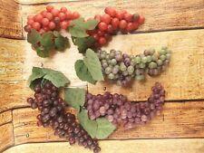 4 Artificial Faux Grapes-Plastic Rubber Fruit Purple Green Red Prop Decoration