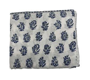 Pottery Barn Block Print Floral Cotton Tablecloth $69 Blue Floral 70x108 NWOT