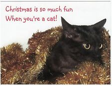 Postcard Black Cat Tangled in Gold Christmas Tinsel