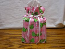 Lots of Turtles on pink cotton Fabric Handmade Square Tissue Box Cover (Only)