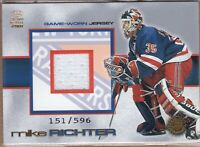 MIKE RICHTER 2001 Pacific Crown Royale GAME JERSEY #'d 151/596 RANGERS RARE!