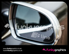 AUDI S LINE A1 A3 A4 A5 NEW LOGO MIRROR DECALS STICKERS GRAPHICS x3 SILVER ETCH