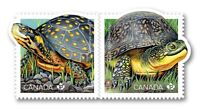 TURTLE = DIE CUT to shape Se-tenant pair from booklet MNH-VF Canada 2019