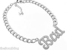 Urban Hip Hop Fashion Silver Chain Necklace BAD Pendant with Crystal Bling