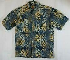 Johari West mens large Hawaiian camp shirt blue/yellow 100% cotton