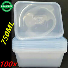 100X PLASTIC TAKE AWAY RECTANGLE FOOD SAFE CONTAINER CONTAINERS 750ML BPA FREE A