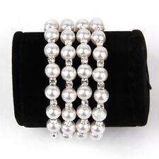 Wedding Bridal 4-Row Pearl Crystal Rhinestone Stretchy Cuff Bracelet Bangle