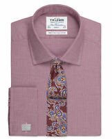 T.M.Lewin Slim Fit Burgundy Micro Dogtooth Shirt – Double Cuff