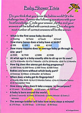 Baby shower trivia game professionnellement imprimé pour bébé fille * first class post *