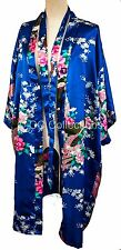 Kimono UK SELLER night dress gown sexy Japanese style Peacock robe Egyptian Blue