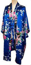 Kimono UK SELLER night dress gown sexy Japanese style Peacock robe Egyptian Blue