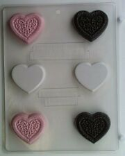 HEART PLAIN AND DESIGN CLEAR PLASTIC CHOCOLATE CANDY MOLD V172
