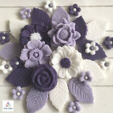 36 Purple Bouquet Edible Flowers Leaves Cake Cupcake Toppers Decorations Wedding