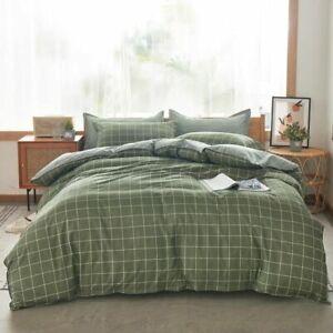 Queen Size Bedding Set Double King Sizes Plaid Duvet Cover Pillowcase Modern New