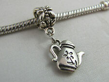 3D SILVER PLATED TEA POT DANGLE CHARMS FOR EURO STYLE CHARM BRACELETS (DC-115)