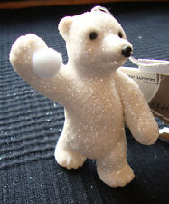 6 x White Sparkle Glitter Polar Bears Hanging Decorations Christmas tree Baubles