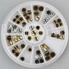 60pc Rhinestone 3D Nail Art Fashion Diamante Gem Round Black Silver Framed Jewel