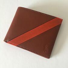 Ralph Lauren Polo Men's Cognac Brown Stripe Leather Billfold Bifold Wallet NWT