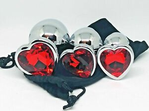 HEART Anal Butt Plug STAINLESS S/M/L Set Sex Toy for Women Men Metal Jewel USA
