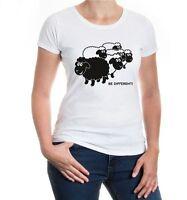 Damen Kurzarm Girlie T-Shirt Be different sheeps verschieden Gegenteil
