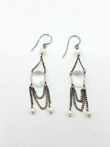 925 Silver Faceted Clear Quartz & Pearls Hook Drop Earrings FC476