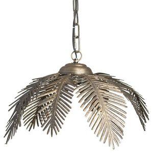 Large Palm Leaf Ceiling Metal Pendant Light | Antique Bronze