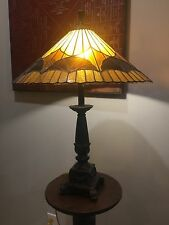 Tiffany style Reproduction Leaded Table Lamp - Amber