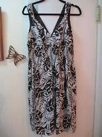 I.N.C. - Low Cut Cross  Brown w/Ivory Pattern  Dress w/Smocked Waist   -  Size 8