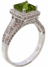 14K WHITE GOLD CUSHION CUT PERIDOT AND DIAMOND DECO ANTIQUE STYLE RING 2.75CTW