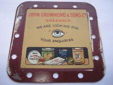 C1920S-30S JOHN DRUMMOND&SONS LTD GREENOCK COLOUR PRINTERS ON TIN ADV TIN CARD