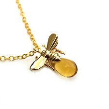 Golden Bee Necklace Tiny Charm Necklace Nature Animal Honey Bee