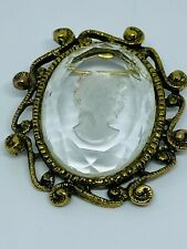 Vintage Reverse-Carved Glass Cameo Brooch