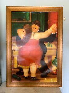 Vintage LARGE print on Canvas Fernando Botero Couple Dancing 24 x 36