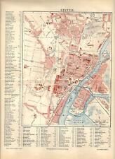 Carta geografica antica STETTINO SZCZECIN Polonia Polska 1890 Old antique map