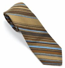 Cravats by Tonino Firenze, Designer Men's Tie Brown Blue Striped Vintage