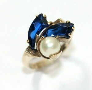 Vintage 10K YELLOW GOLD, PEARL, Syn. Sapphire Womens Ring: SIZE 5, 4 Grams