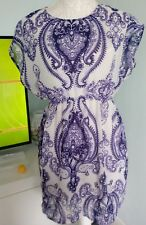 MANGO casual dress and under slip ,size xs bkue/white