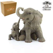 African Elephant Mother & Calf Figurine Resin Wild Animal Ornament Gift Boxed