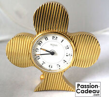 Clock Alarm clock Clover Golden brass solid, Jaccard Paris, Made in France