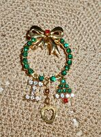 Vintage Pave Rhinestone Wreath I Love Christmas Dangle Brooch Pin  C197