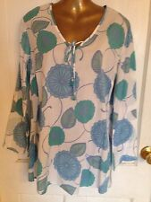 Women's Ladies Top By Designer Gap Body Size M Teal Green Cotton Beaded Ties Wow