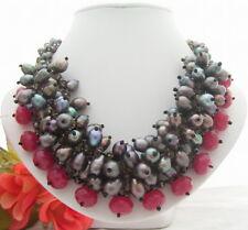 "18"" Black Pearl Red Jade  Crsytal Necklace"