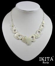 Luxus Halskette Kette Collier Metall Versilbert Ikita Paris Emaille Stein Glas