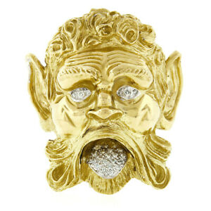 Vintage Large Henry Dunay Heavy 18K Gold Greek Mythology Poseidon Diamond Brooch