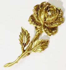 broche bijou vintage rose couleur or signé GOLDETTE cristaux * 3535