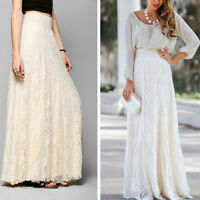 Sexy Party Cocktail Long Crochet Lace Skirt Casual Beach High Waist Maxi Dress