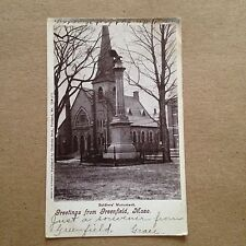 Greenfield Mass Soldiers Monument Antique Postcard 2nd Congregational Church