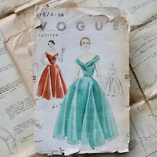 50s original BALL GOWN / PARTY DRESS vintage VOGUE sewing dressmaking pattern