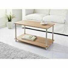 Modern Large Wood Coffee Table With Steel Legs & Shelf Underneath Oak Effect