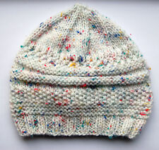 Hand knitted Baby Hat Cream Multicolour Fleck  3-6 months
